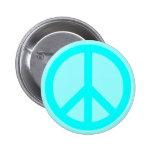 Aqua Peace Symbol Pinback Buttons