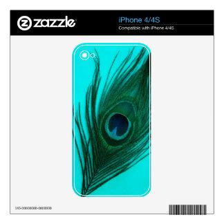 Aqua Peacock Feather iPhone 4 Skin