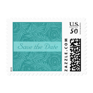 Aqua peacock feather Save the Date Postage