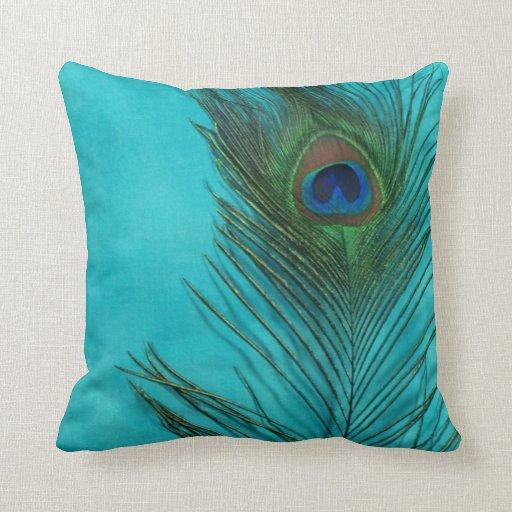 Aqua Peacock Feather Still Life Throw Pillow Zazzle