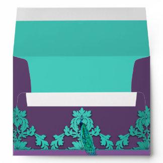 Aqua Peacock & Purple Damask Wedding Envelopes