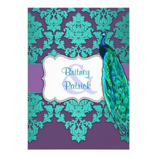 Aqua peacock amp purple damask wedding invitations from zazzlecom