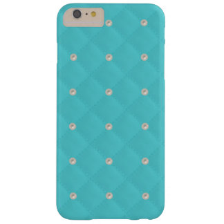Aqua Pearl Stud Quilted Barely There iPhone 6 Plus Case