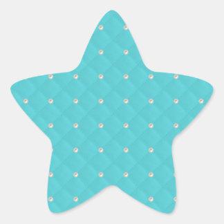 Aqua Pearl Stud Quilted Star Sticker