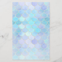 Aqua Pearlescent & Gold Mermaid Scale Pattern