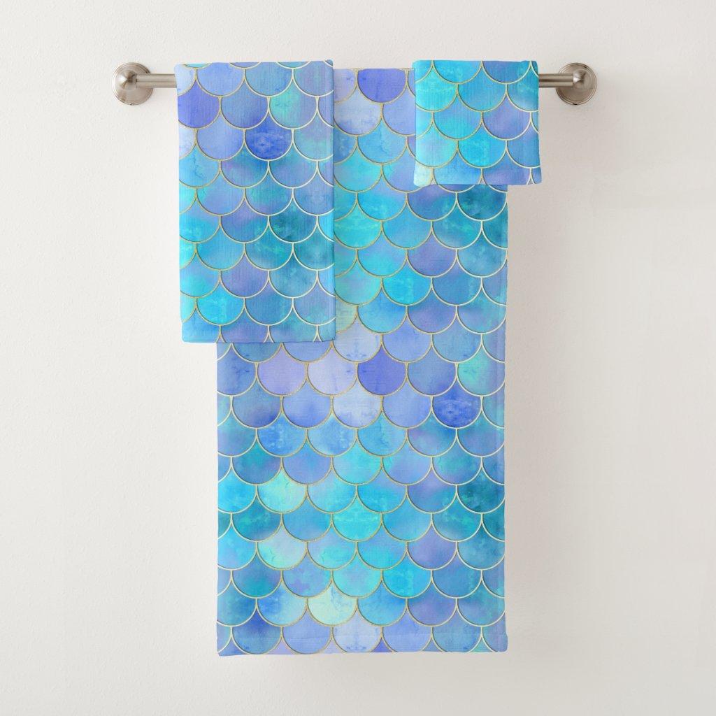 Aqua Pearlescent & Gold Mermaid Scale Pattern Bath Towel Set