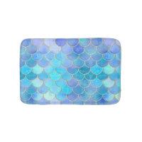 Aqua Pearlescent & Gold Mermaid Scale Pattern Bathroom Mat