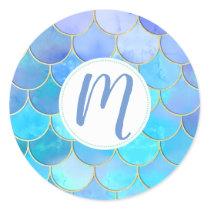 Aqua Pearlescent & Gold Mermaid Scale Pattern Classic Round Sticker