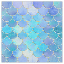 Aqua Pearlescent & Gold Mermaid Scale Pattern Fabric