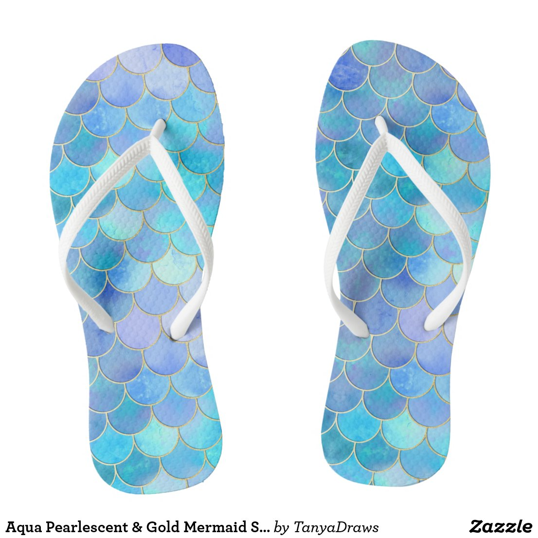 Aqua Pearlescent & Gold Mermaid Scale Pattern Flip Flops