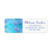 Aqua Pearlescent & Gold Mermaid Scale Pattern Label