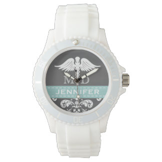 AQUA PERSONALIZED DOCTOR CADUCEUS CHALKBOARD WRISTWATCH
