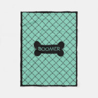 Aqua Personalized Doggie Blanket Fleece Blanket