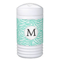 Aqua Personalized Monogram Zebra Stripes Beverage Cooler