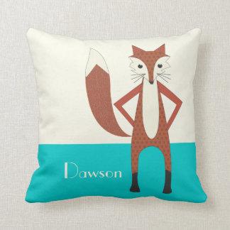 Aqua Personalized Stylized Fox Pillow