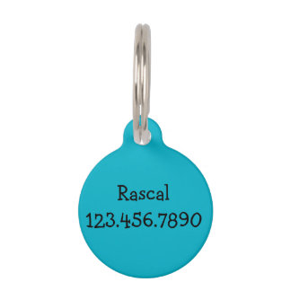 "Aqua Pet Tag with Name ""I am Microchipped"""