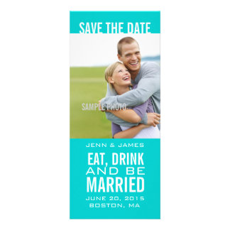 Aqua Photo Save the Date EAT DRINK BE MARRIED Announcements