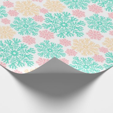 Beach Themed Aqua Pink and Gold Snowflakes Pattern Wrapping Paper