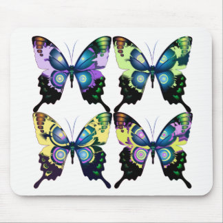 Aqua, Pink, and Yellow -  Elegant Butterflies Mouse Pad