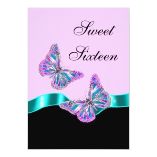 Aqua pink black butterfly ribbon card