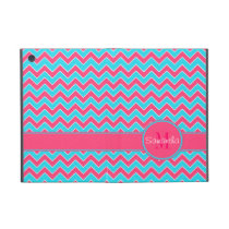 Aqua & Pink Chevron Pattern Custom Monogram Cover For iPad Mini