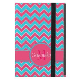 Aqua & Pink Chevron Pattern Custom Monogram iPad Mini Covers
