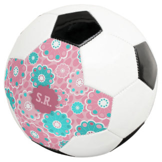 Aqua pink floral personalized soccer name soccer ball