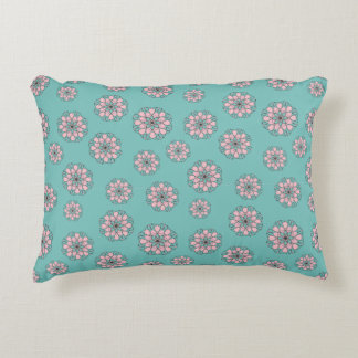 Aqua Pink Flower Pattern Pillow
