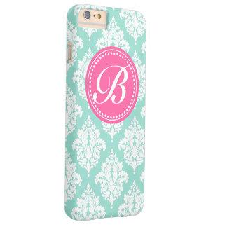 Aqua & Pink French Damask Custom Monogram Barely There iPhone 6 Plus Case