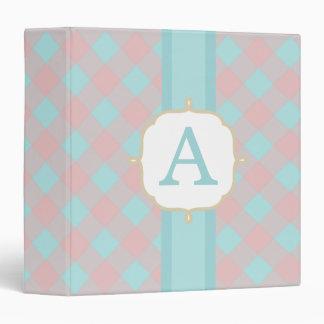 Aqua Pink Gingham Monogram Binder