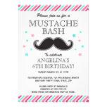 Aqua pink girls mustache bash birthday party announcement
