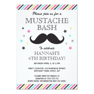 Aqua pink green stripes mustache birthday party card