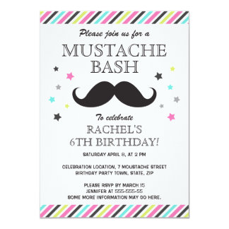 Aqua pink green stripes mustache birthday party card