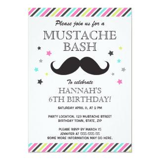Aqua pink green stripes mustache birthday party 5x7 paper invitation card