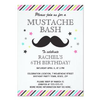 Aqua pink green stripes mustache birthday party 4.5x6.25 paper invitation card