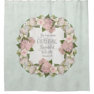 Aqua Pink Hydrangea Scripture Illustrated Faith Shower Curtain