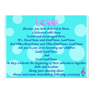 Aqua, Pink,  Love Wedding Invitation