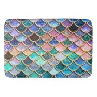 Aqua Pink Mermaid Glitter Scales- Mermaid Scales Bathroom Mat