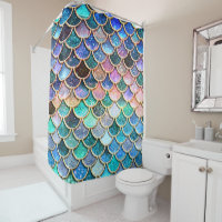 Aqua Pink Mermaid Glitter Scales- Mermaid Scales Shower Curtain