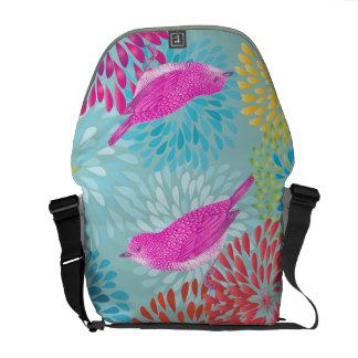 Aqua Pink  Modern Floral Vintage Bird Bag Courier Bag