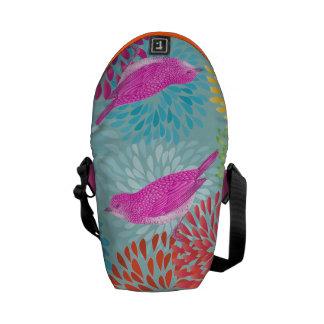 Aqua Pink  Modern Flower Vintage Bird Bag