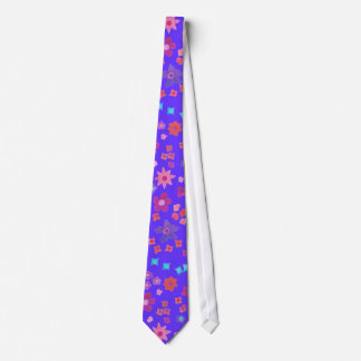 Aqua Pink Orange Floral Pattern on Bright Blue Tie