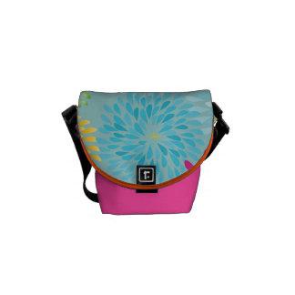 Aqua Pink Orange Modern Flower Rickshaw Bag Messenger Bags