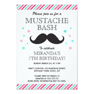 Aqua pink stripes mustache bash birthday party card