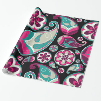 Aqua Pink Vintage Floral Paisley Pattern Wrapping Paper