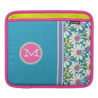 Aqua Pink Yellow Monogram Racing Stripe Daisy iPad iPad Sleeves
