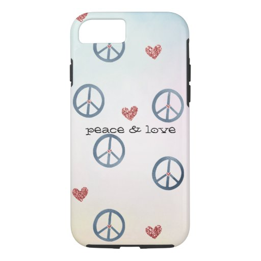 Aqua Pink Yellow Tie Dye Peace Sign with Hearts iPhone 8/7 Case