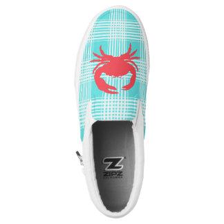 Aqua Plaid and Crab Zipz Slip On Shoe