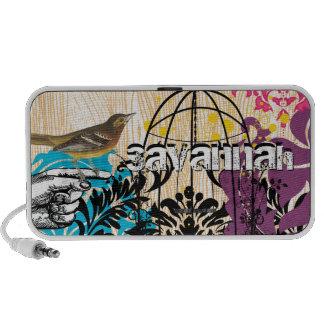Aqua Plum Pink Damask Vintage Bird Cage Doddle Portable Speakers