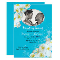 Aqua Plumeria Photo Wedding Shower Invitations